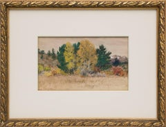 Untitled, Trees in Autumn, Colorado Mountain Landscape, Gold Green Red Brown