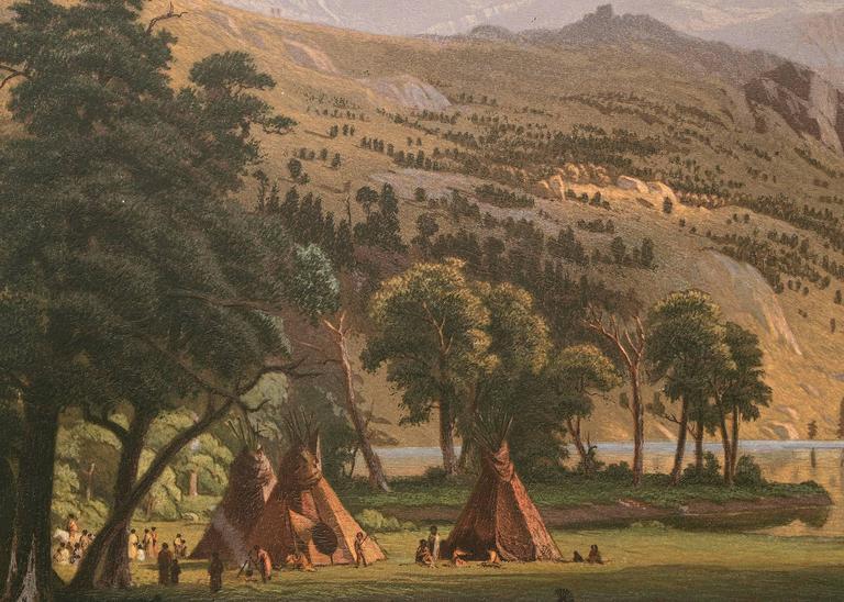 The Rocky Mountains, Lander's Peak (Wyoming) - Hudson River School Print by Albert Bierstadt