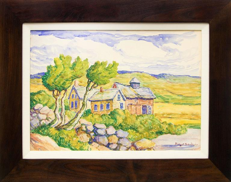 Birger Sandzen Landscape Painting - Kansas Farm (Prairie, River, Farm House and Barn)