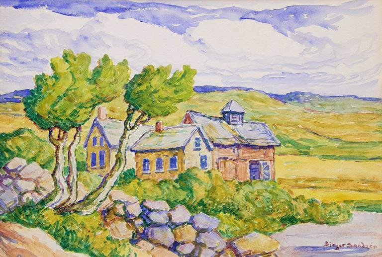 Kansas Farm (Prairie, River, Farm House and Barn) - Art by Birger Sandzen