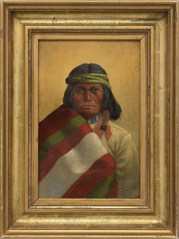 Unknown Portrait Painting - Untitled (Portrait of a Native American Man)