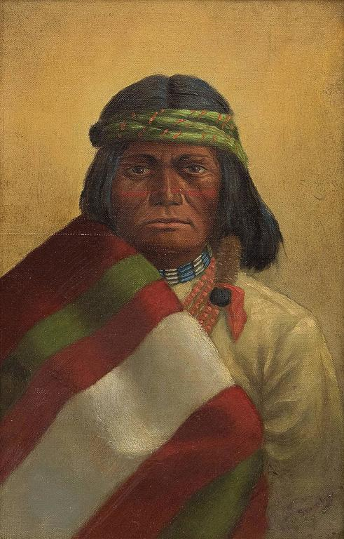 Untitled (Portrait of a Native American Man) - Painting by Unknown