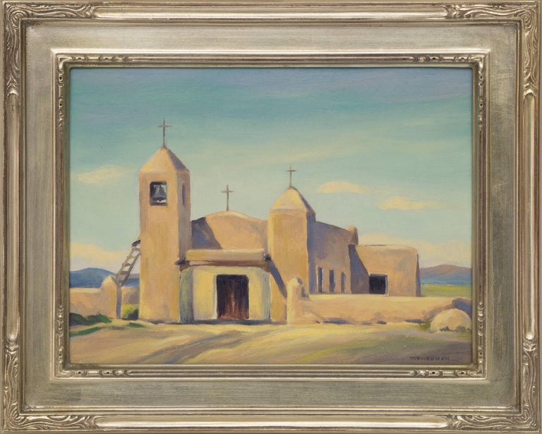 Small Church, Taos (New Mexico) is an original oil painting by 20th century Colorado woman artist, Mildred Pneuman (1899-1991) with an adobe church in earth tones against a blue sky, signed lower right, titled verso.  Presented in a silver leaf