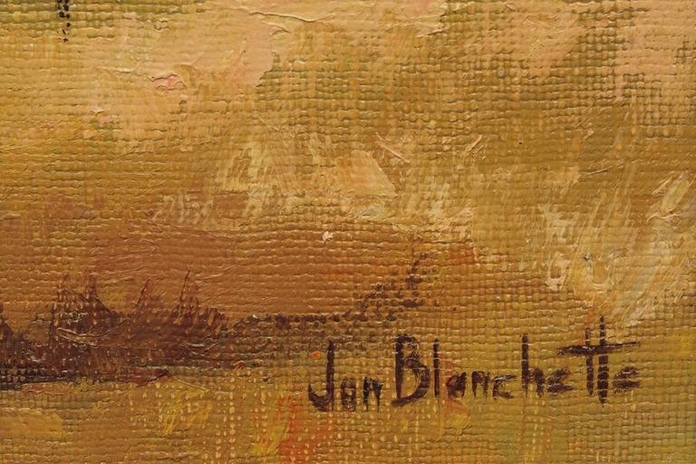 Little River Farm, Mendocino (California) - Gold Landscape Painting by Jon Blanchette
