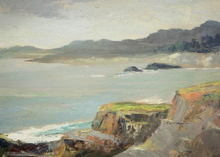 West of Mendocino (Northern California Coast) - Brown Figurative Painting by Jon Blanchette