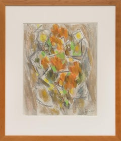 Floral  (1950 Abstract Still Life Painting: Orange, Green, Yellow, White, Gray)