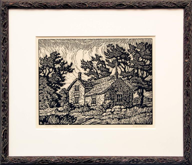 Birger Sandzen Landscape Print - Blue Valley Farm (Kansas)