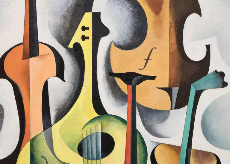 String Instruments #5 - Black Abstract Painting by William Sanderson