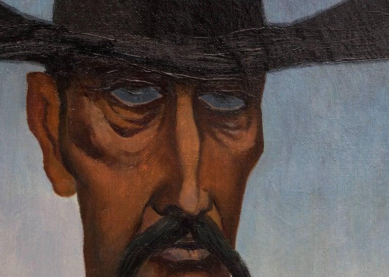 Hombre - Black Portrait Painting by William Sanderson