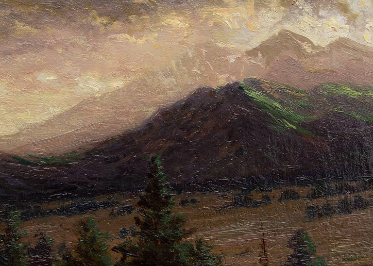 Storm Clearing on Long's Peak (from near Estes Park, Colorado) - Brown Landscape Painting by Charles Partridge Adams