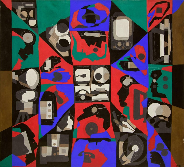 Margo Hoff Abstract Painting - Mediaman