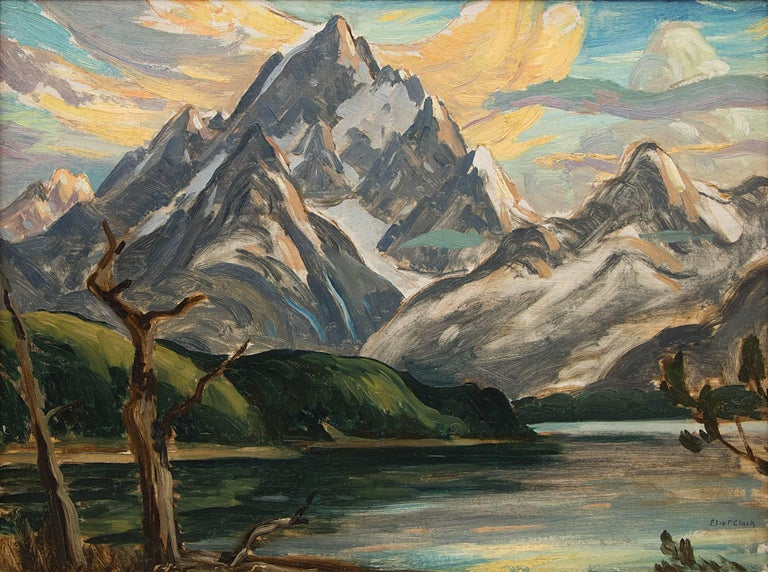 Untitled (The Grand Tetons and Jackson Lake) - Painting by Eliot Clark