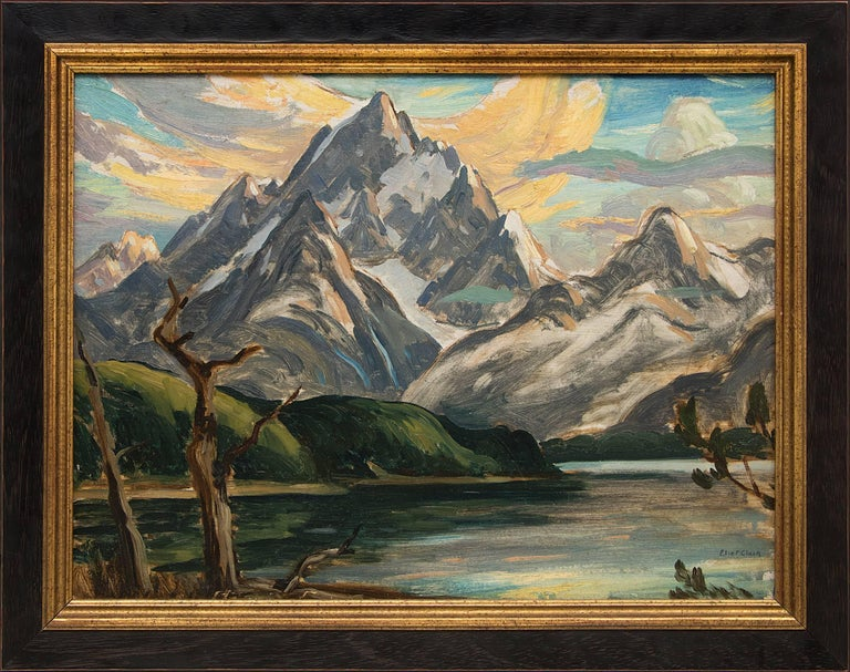 Eliot Clark Landscape Painting - Untitled (The Grand Tetons and Jackson Lake)