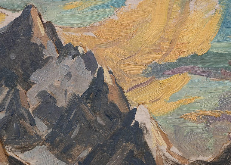 Untitled (The Grand Tetons and Jackson Lake) - Black Landscape Painting by Eliot Clark