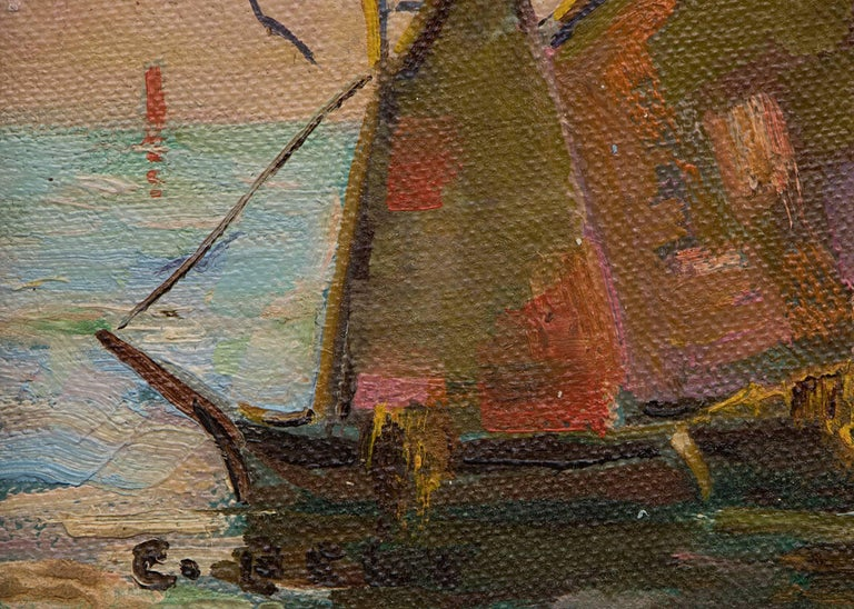 Group of Three Maritime/Sailboat Oil Paintings For Sale 6