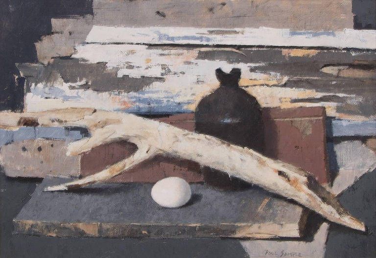 Still Life with Old Wood and Egg - Painting by Paul Sample