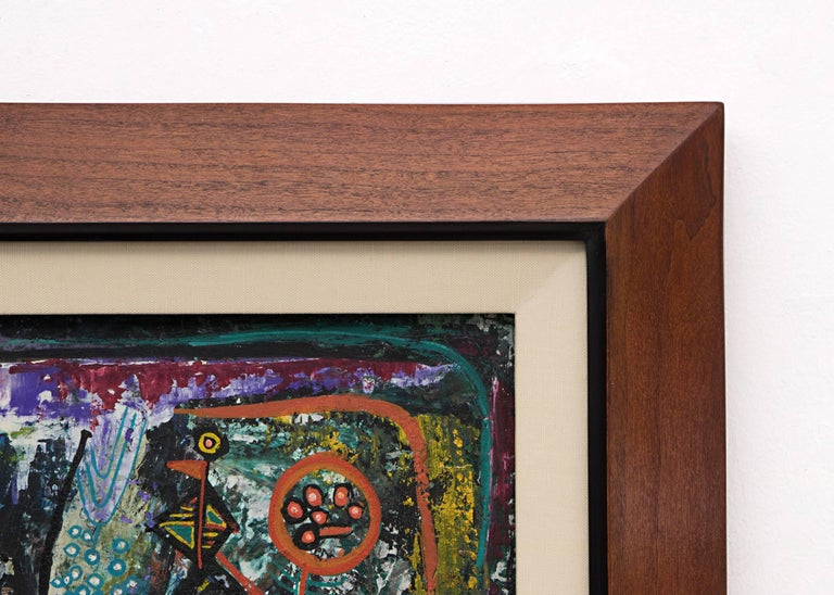 Blue Bird In A Landscape (53 Goache Series).  Housed in a custom hardwood frame, outer dimensions measure 24 ¼ x 22 ½ x 1 inches.  Image size is 18 x 14 inches.  Howard Schleeter, the son of a commercial artist, studied formally at the Albright Art