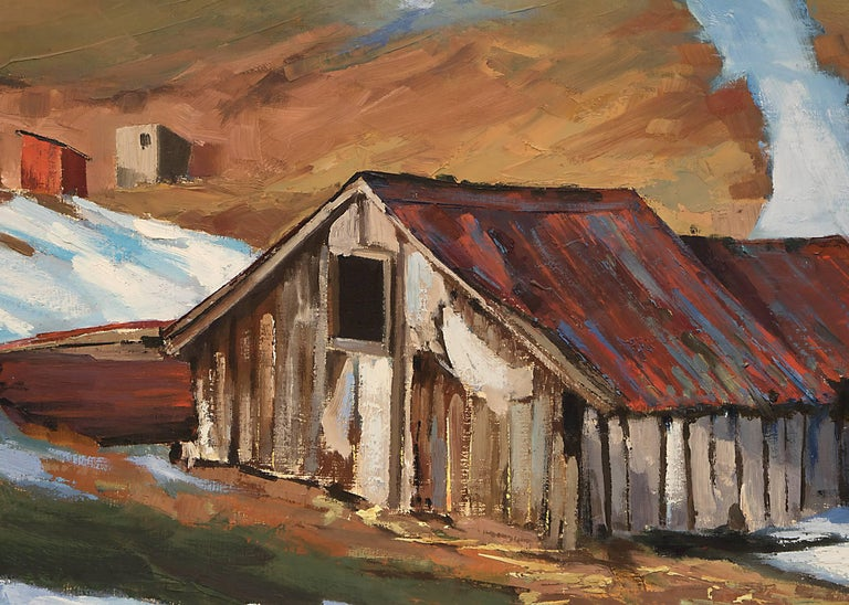 Untitled (Barn in Winter) - Brown Landscape Painting by Ruth Wahl