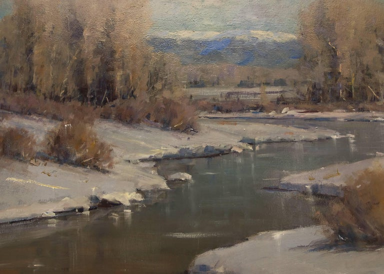 Untitled (Afternoon Light on Snow Along the Front Range, Colorado) - Brown Figurative Painting by Rick Howell
