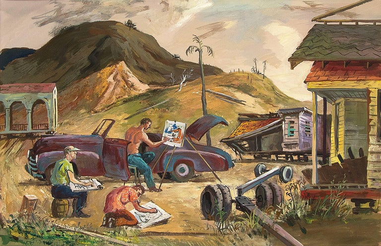 Artists Sketching (California) - Painting by Frederick Shane
