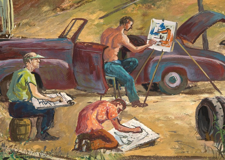Artists Sketching (California) - Brown Landscape Painting by Frederick Shane