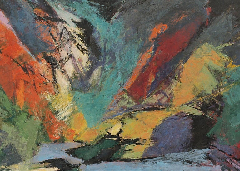 Jenny Lake, Tetons (Wyoming) - Black Abstract Painting by Ethel Magafan