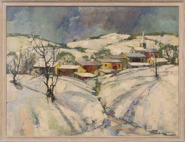 Jean Claude Mayodon Landscape Painting - Untitled (Winter Village)