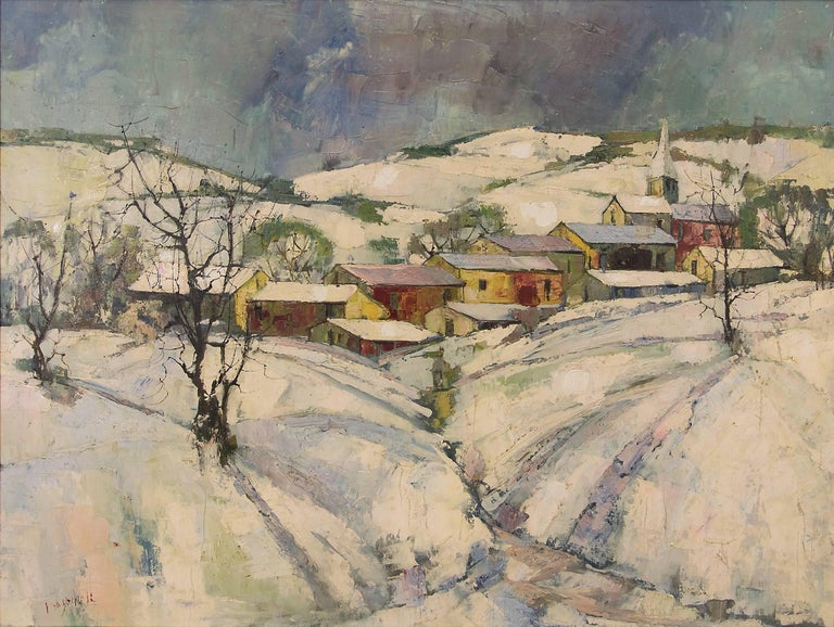 Untitled (Winter Village) - Painting by Jean Claude Mayodon