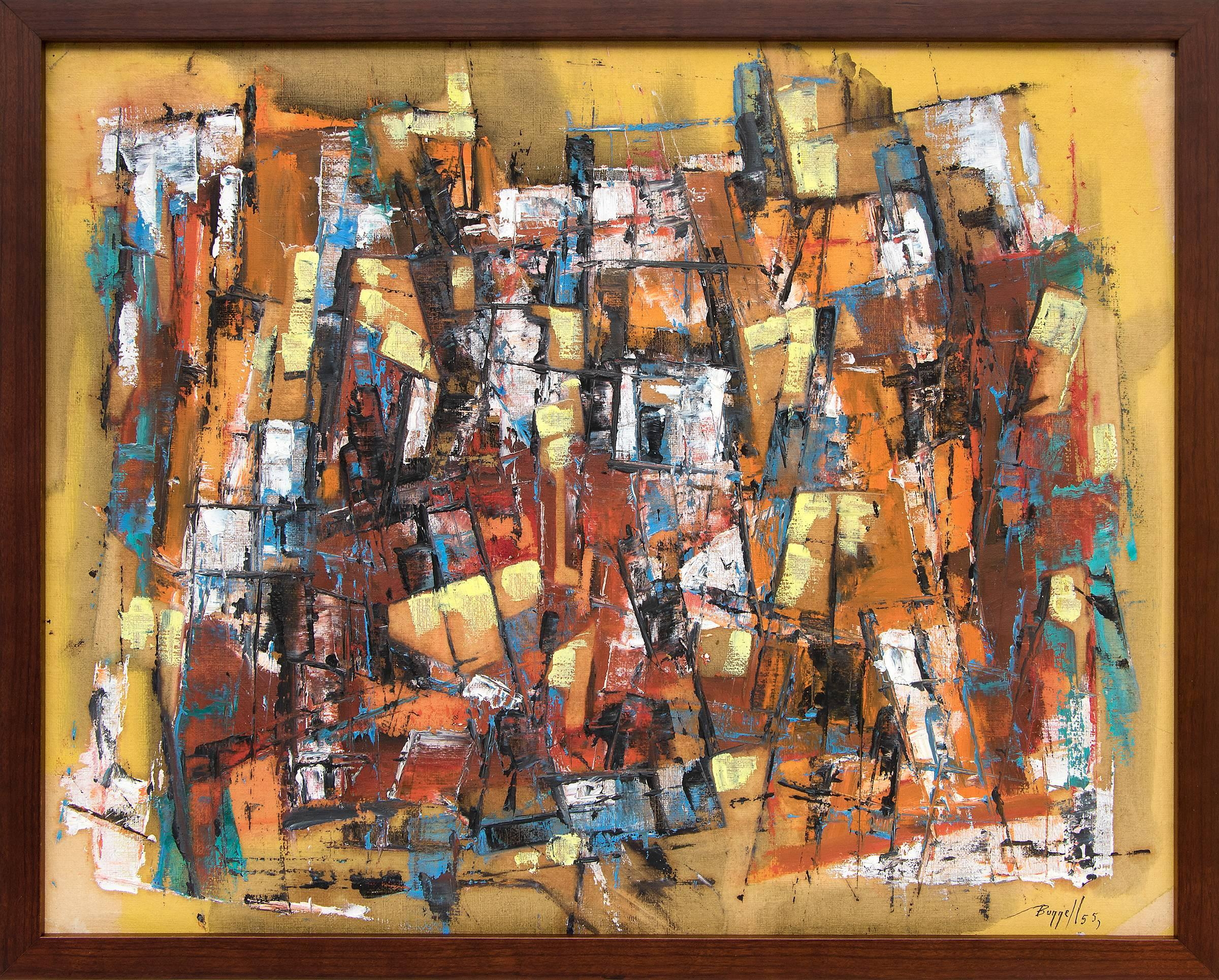 Untitled (Abstract Expressionist Painting: Yellow/Gold, Red/Brown, Orange, Blue)
