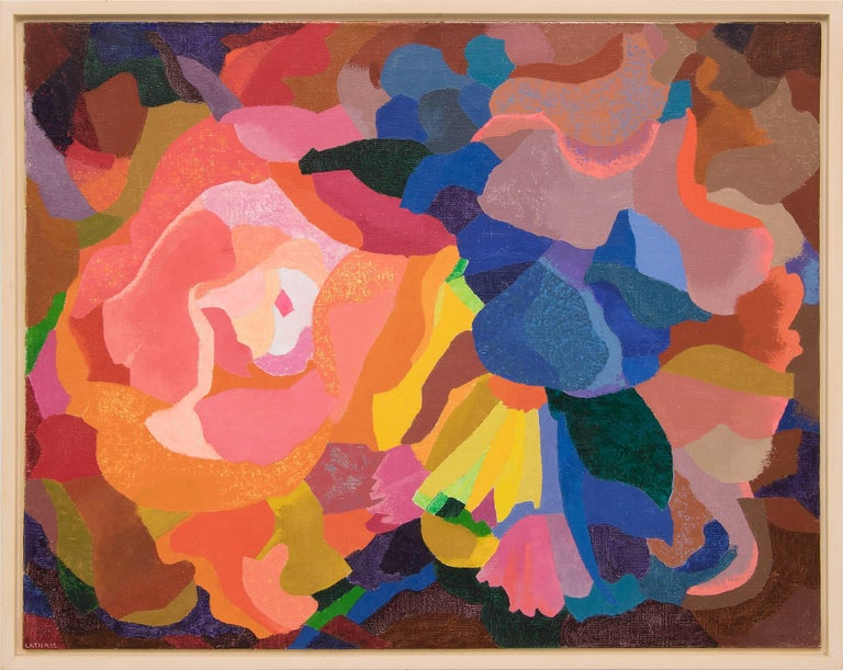 Barbara Latham Abstract Painting - Bouquet (Abstract Composition in Coral, Pink, Orange, Yellow, Blue and Green)