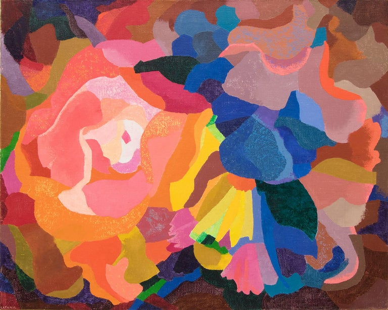 Bouquet (Abstract Composition in Coral, Pink, Orange, Yellow, Blue and Green) - Painting by Barbara Latham