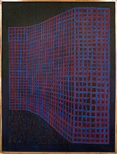 Façade (Abstract Painting in Blue, Purple, Fuchsia, Black and Red/Orange)
