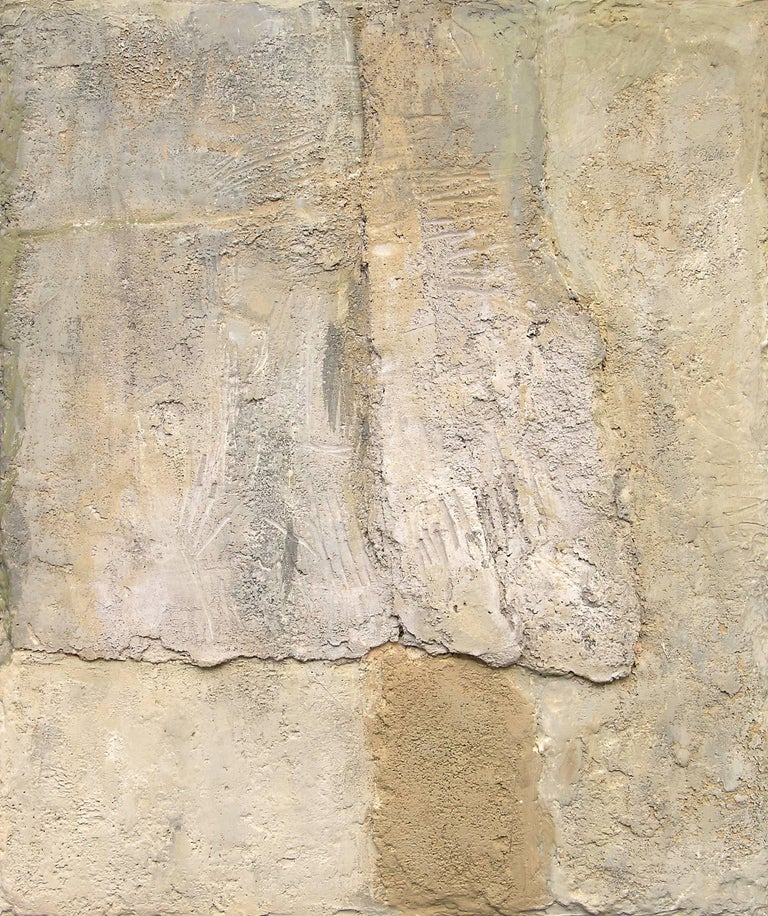 Mixed media on cement abstract composition by Manuel Bromberg (born 1917). Housed in a simple gray frame. Framed dimensions measure 26.75 x 22.5 x 1.75 inches; image dimensions measure 22.5 x 18.25 inches.  Born in Centerville, Iowa, Manuel Bromberg