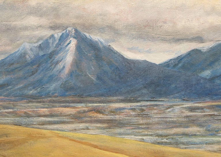 Spanish Peaks (Southern Colorado Landscape) - Gray Landscape Painting by Bruce Buck (b.1938)
