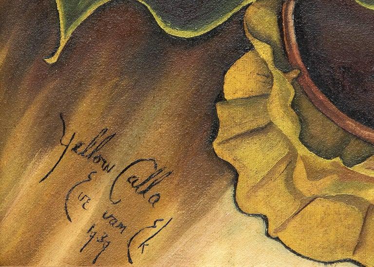 Yellow Calla (Still Life) - American Modern Painting by Eve Drewelowe