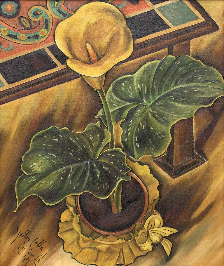 Yellow Calla (Still Life) - Painting by Eve Drewelowe