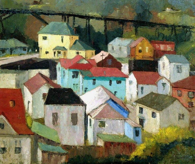 Capitola Roofs (California) - Painting by Jon Blanchette