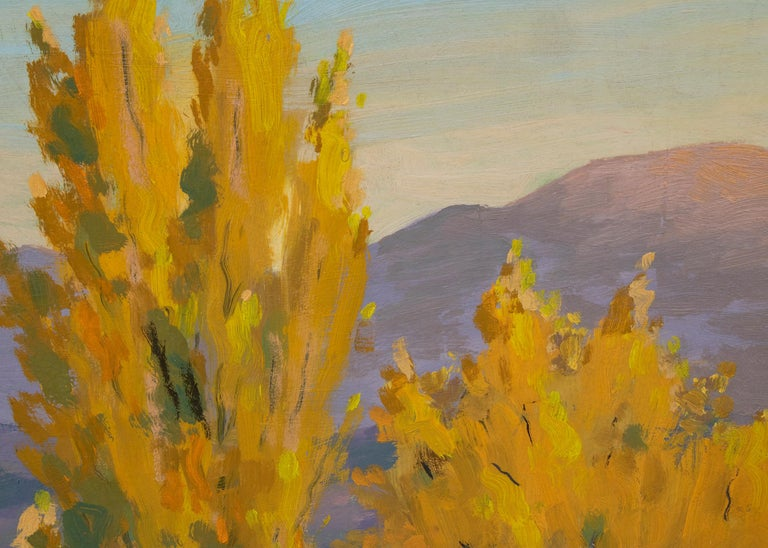 Original oil painting by Harold Skene depicting Adobes and mountains near Nambé, New Mexico in autumn.  Presented in a custom frame, outer dimensions measure 29 ½ x 35 ½ x ½ inches.  Image size is 23 ¾ x 29 ¾ inches. A native of Massachusetts,