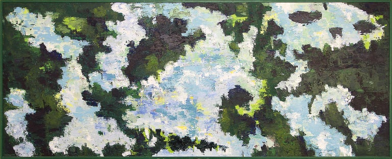 Presented in the artist's original frame, outer dimensions measure 49 ¼ x 121 ¼ x 1 ½ inches. Image size is 48 x 120 inches.