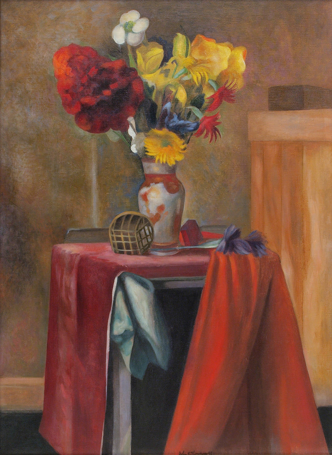Untitled (Still Life with Flowers) - Painting by John Edward Thompson