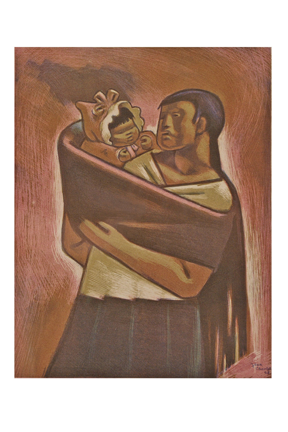 Mexican Mother and Child - Painting by Jean Charlot
