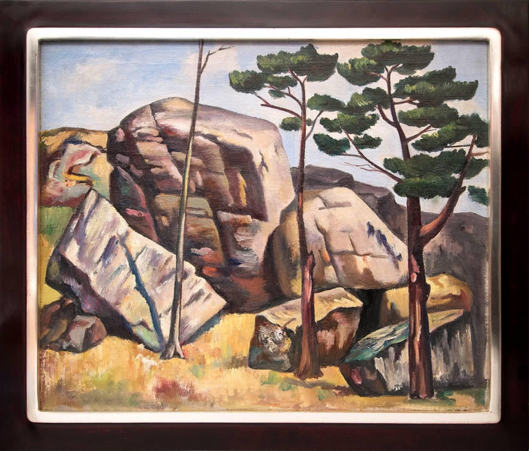 Jan Matulka Landscape Painting - Untitled (Modernist Landscape with Rocks and Trees)