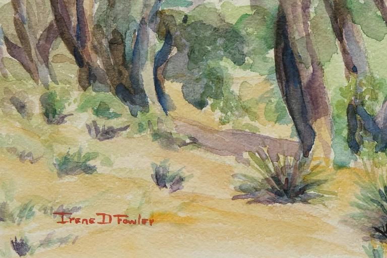 Original vintage western landscape painting of trees near a ranch in Colorado by Irene Fowler, one of Colorado's preeminent women artists of the 20th century.  Presented in a custom frame, outer dimensions measure 17 ½ x 23 ½ x 1 ½ inches. Image