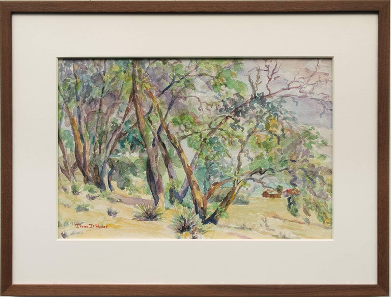 Untitled Landscape Painting of Trees Near a Colorado Ranch - Art by Irene D. Fowler