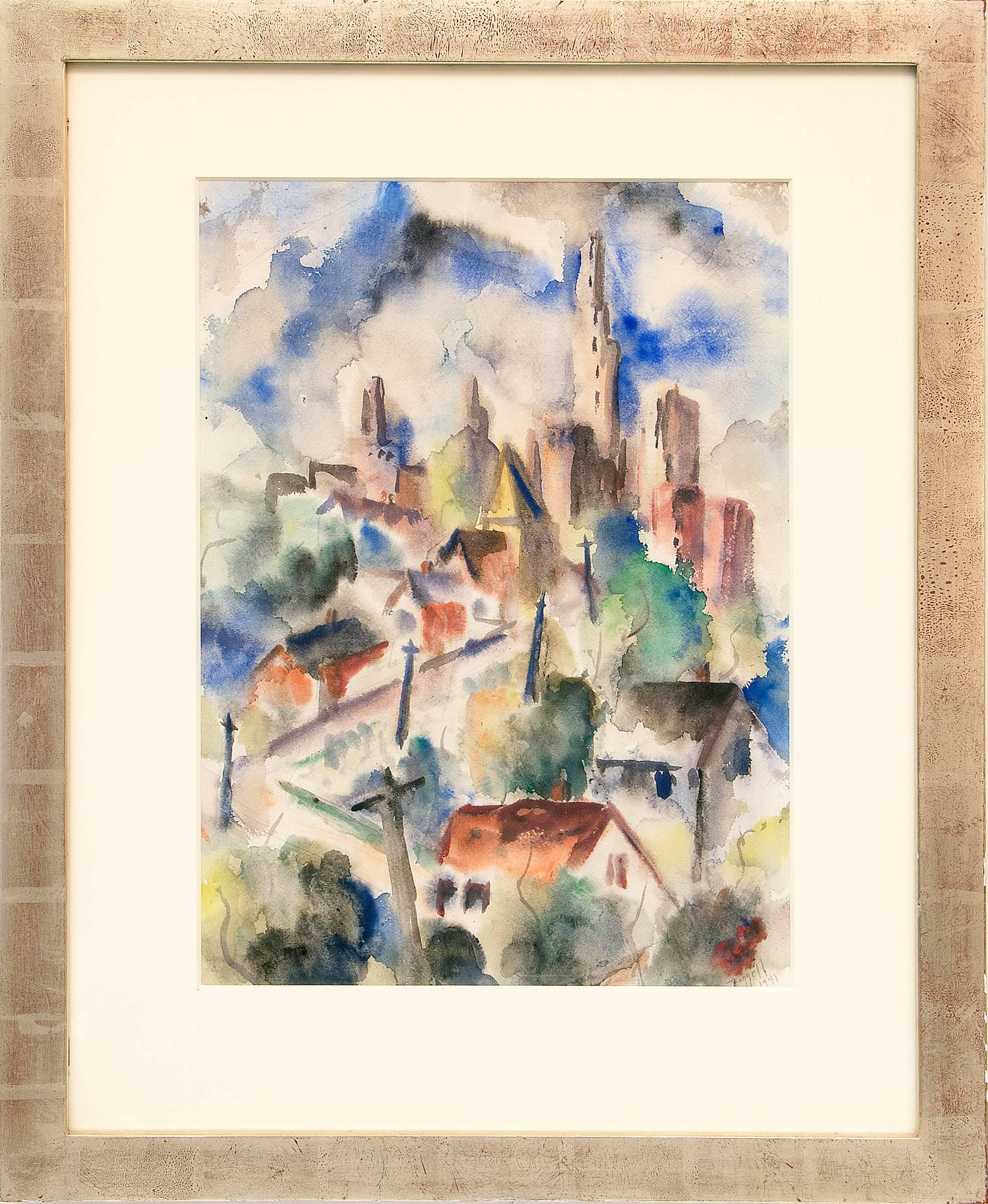 Summer Day, 1941 - Kansas City, Vintage Modernist/Regionalist American Painting