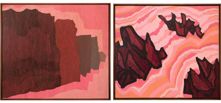 Margo Hoff Abstract Painting - Two Paintings (Jagged Sea & Untitled II)