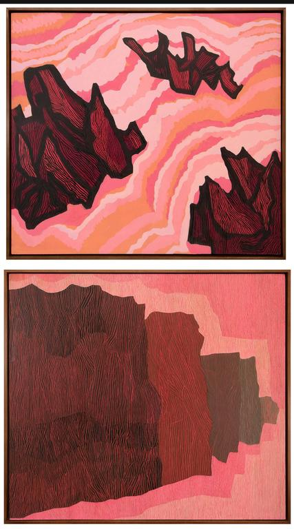 Two Paintings (Jagged Sea & Untitled II) - Pink Abstract Painting by Margo Hoff