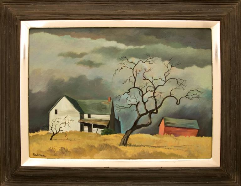 William Sanderson Landscape Painting - Red Barn and Tree (Colorado)