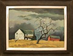Red Barn and Tree (Surrealist/Modernist Colorado Landscape)