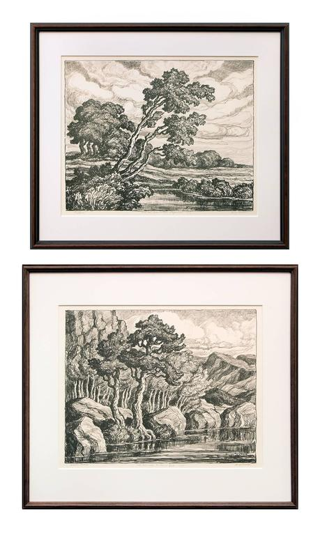 Birger Sandzen Landscape Print - Pastures & Mountain Solitude (Two Original Lithographs)
